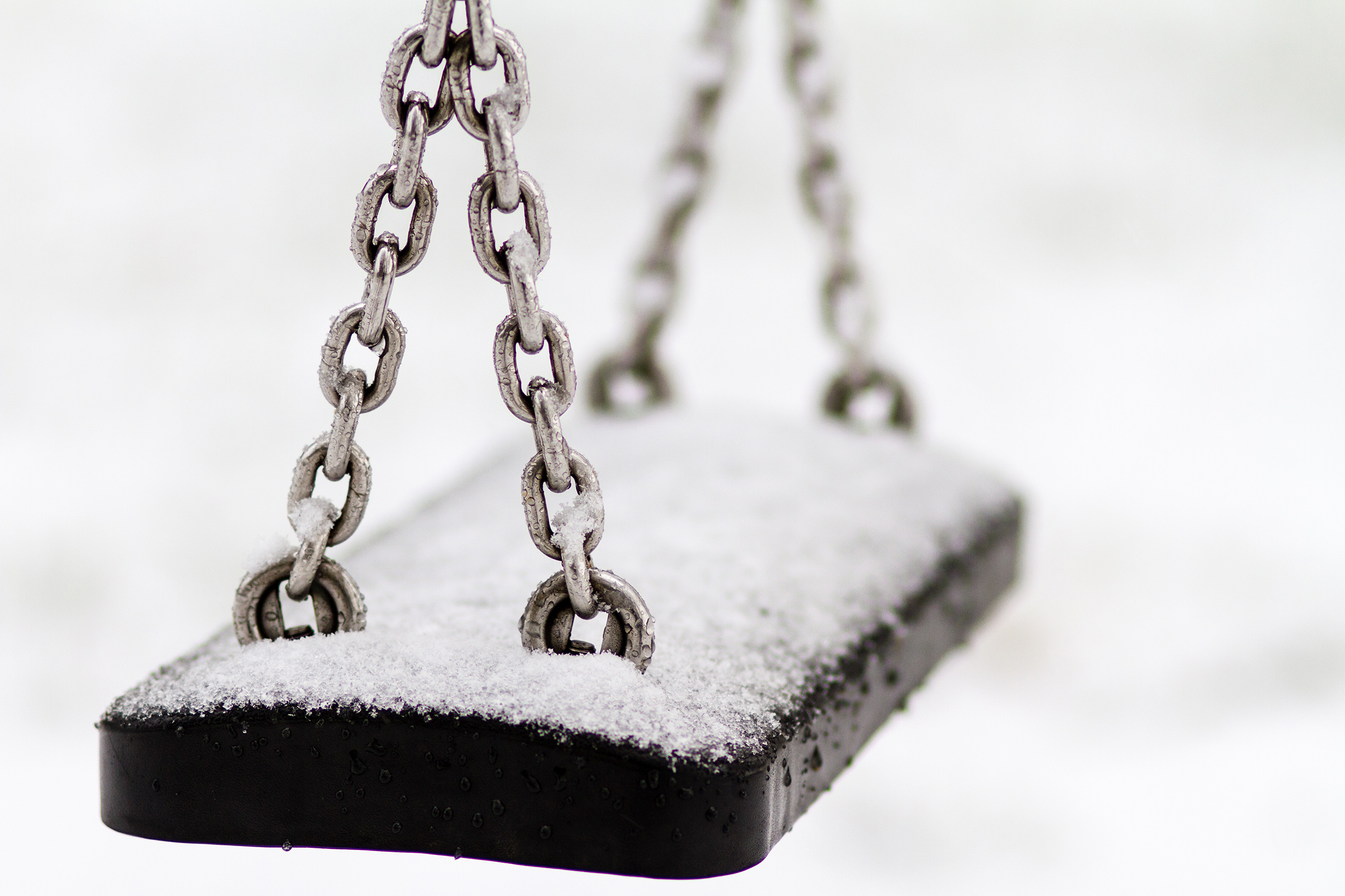 ice, winter, outdoor, still life, swing, snow, cold, playground © André Schunert